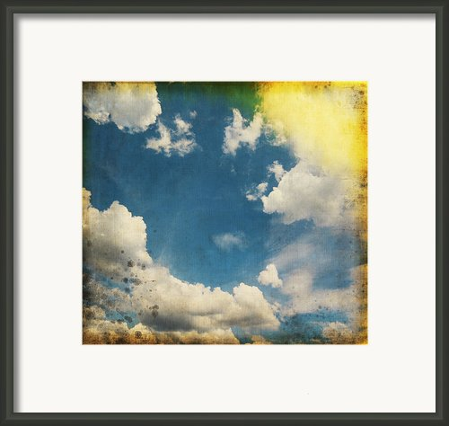 Blue Sky On Old Grunge Paper Framed Print By Setsiri Silapasuwanchai