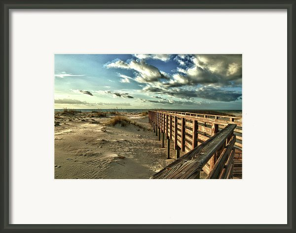Boardwalk On The Beach Framed Print By Michael Thomas