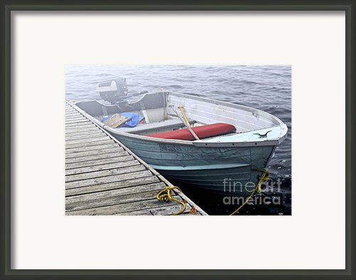Boat In A Fog Framed Print By Elena Elisseeva