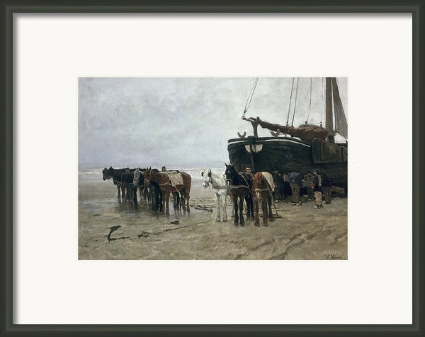 Boat On The Beach At Scheveningen Framed Print By Anton Mauve