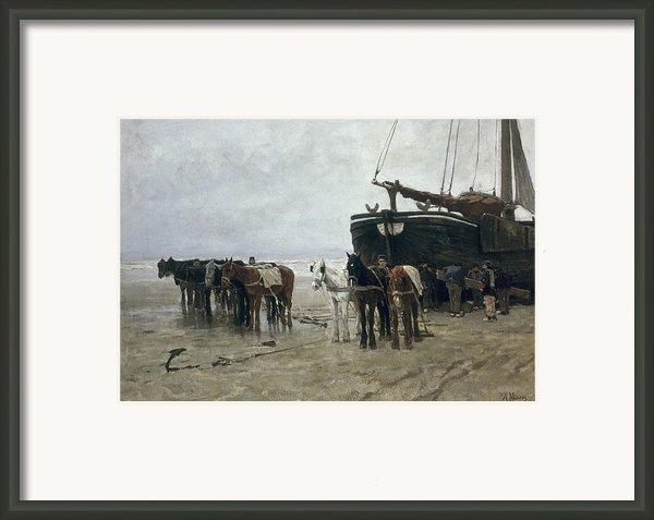 Boat On The Beach At Scheveningen Framed Print By Anton Mauve