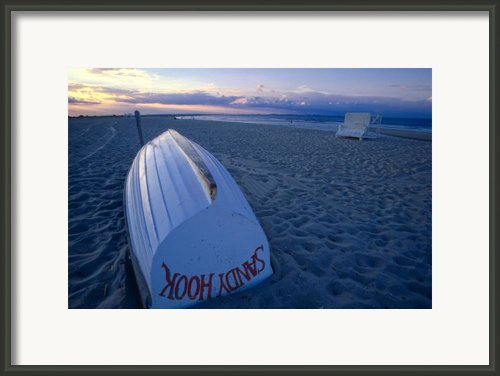 Boat On The New Jersey Shore At Sunset Framed Print By George Oze