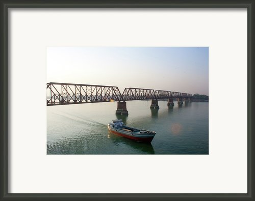Boat Passing From Under Bridge Framed Print By Manzur Anam Photography