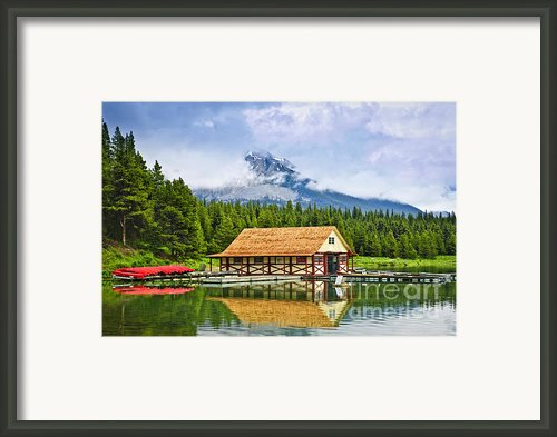 Boathouse On Mountain Lake Framed Print By Elena Elisseeva