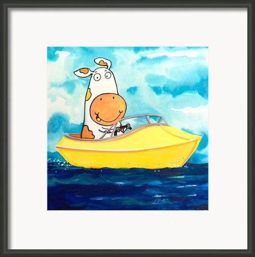 Boating Cow Framed Print By Scott Nelson