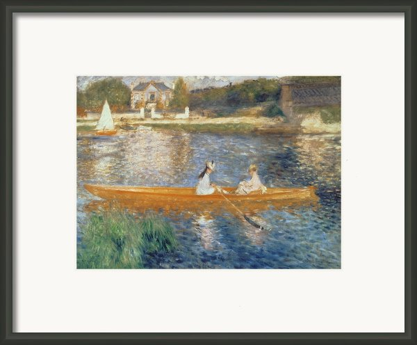 Boating On The Seine Framed Print By Pierre Auguste Renoir