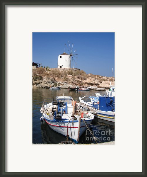 Boats And Windmill Framed Print By Jane Rix