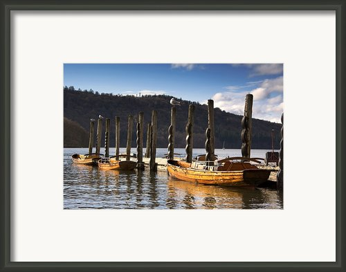 Boats Docked On A Pier, Keswick Framed Print By John Short