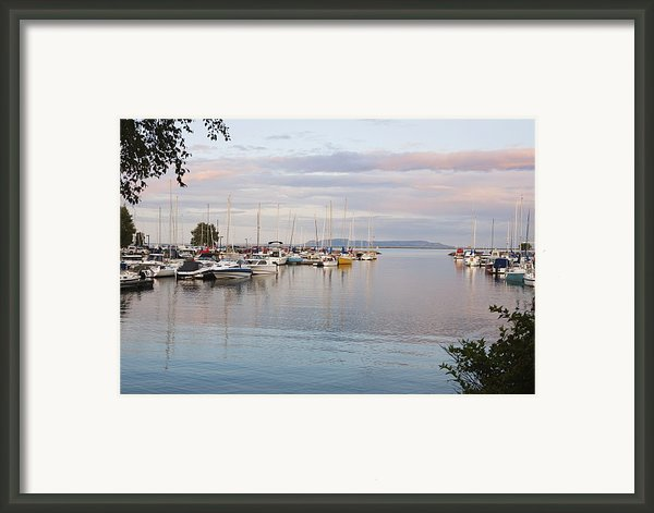 Boats In The Harbour At Sunset Thunder Framed Print By Susan Dykstra