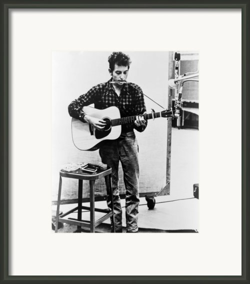 Bob Dylan B. 1941 Playing Guitar Framed Print By Everett