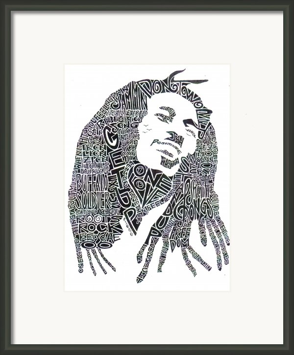 Bob Marley Black And White Word Portrait Framed Print By Kato Smock