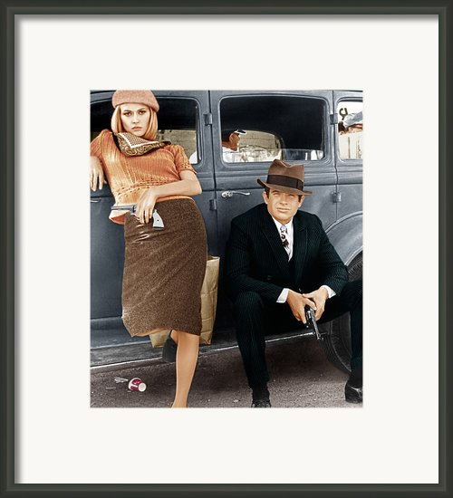 Bonnie And Clyde, From Left Faye Framed Print By Everett