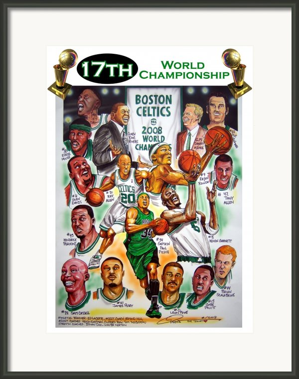 Boston Celtics World Championship Newspaper Poster Framed Print By Dave Olsen