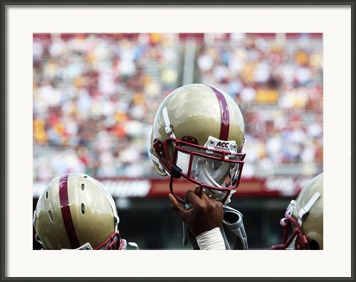 Boston College Helmet Framed Print By John Quackenbos
