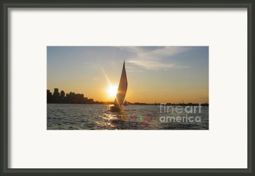 Boston Harbor Sunset Framed Print By Laura Lee Zanghetti