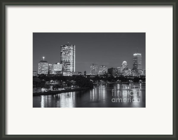 Boston Night Skyline V Framed Print By Clarence Holmes