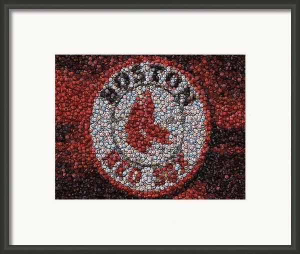 Boston Red Sox Bottle Cap Mosaic Framed Print By Paul Van Scott