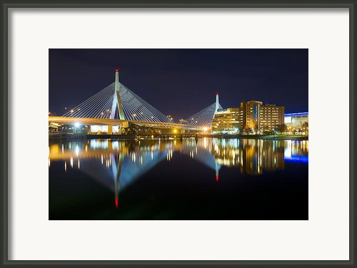 Boston Zakim Bridge Reflections Framed Print By Shane Psaltis