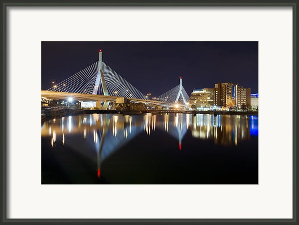 Boston Zakim Memorial Bridge Nightscape Ii Framed Print By Shane Psaltis