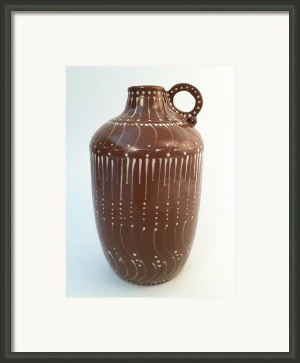 Bottle Of Deep Red Clay With White Slip Decoration And A Handle Framed Print By Carolyn Coffey Wallace