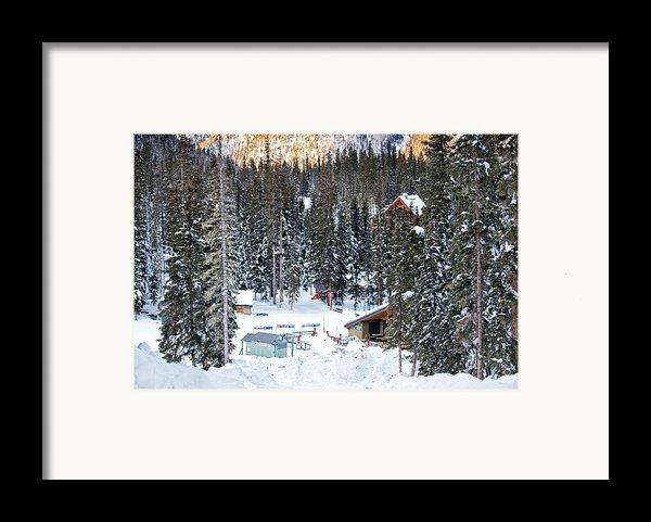Bottom Of Ski Slope Framed Print By Lisa  Spencer