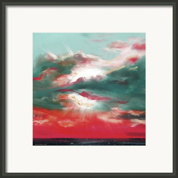 Bound Of Glory 2 - Square Sunset Painting Framed Print By Gina De Gorna