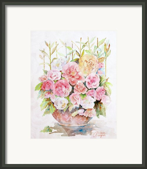 Bowl Full Of Roses Framed Print By Arline Wagner