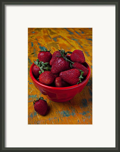Bowl Of Strawberries  Framed Print By Garry Gay