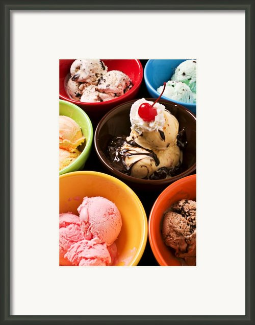 Bowls Of Different Flavor Ice Creams Framed Print By Garry Gay