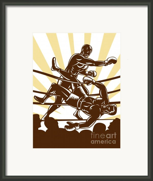 Boxer Knocking Out Framed Print By Aloysius Patrimonio