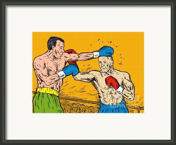 Boxer Punching Framed Print By Aloysius Patrimonio