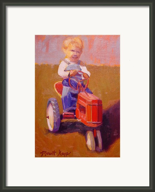 Boy On Tractor Framed Print By The Vintage Painter