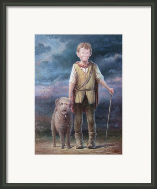 Boy With Dog Framed Print By Hans Droog