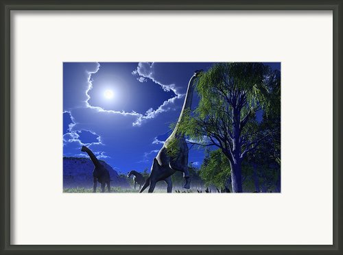 Brachiosaurus Dinosaurs, Artwork Framed Print By Roger Harris