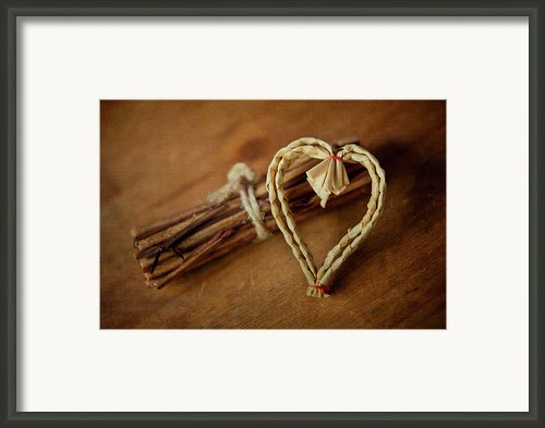 Braided Wicker Heart On Small Bundled Wood Framed Print By Alexandre Fundone