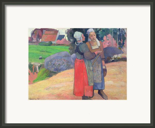 Breton Peasants Framed Print By Paul Gauguin