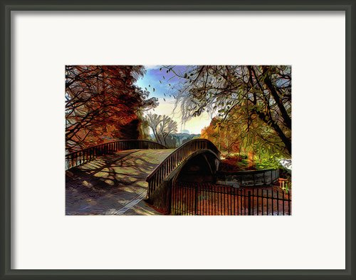 Bridge To Autumns Beauty Framed Print By Byron Fli Walker