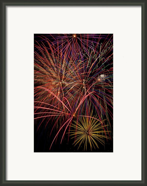 Bright Colorful Fireworks Framed Print By Garry Gay