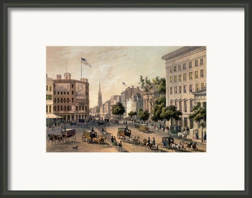 Broadway In The Nineteenth Century Framed Print By Augustus Kollner