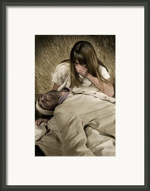 Broken Heart In White Framed Print By Pedro Cardona