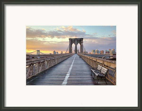 Brooklyn Bridge At Sunrise Framed Print By Anne Strickland Fine Art Photography