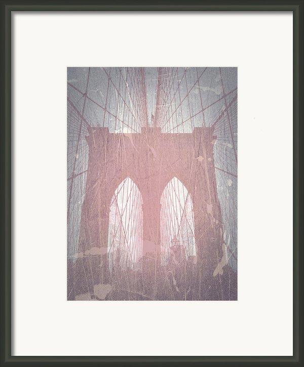 Brooklyn Bridge Red Framed Print By Irina  March