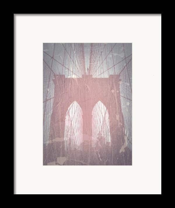 Brooklyn Bridge Red Framed Print By Naxart Studio