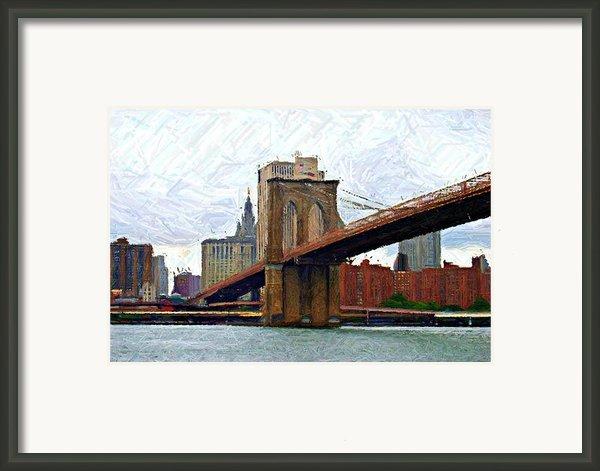 Brooklyn Bridge Sketch Framed Print By Randy Aveille