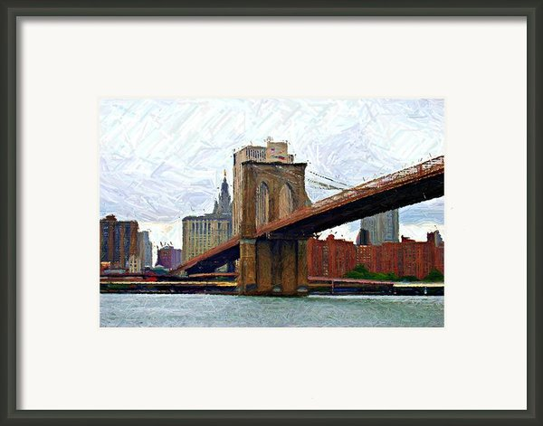 Brooklyn Bridge Sketch Framed Print By Randy Aveille