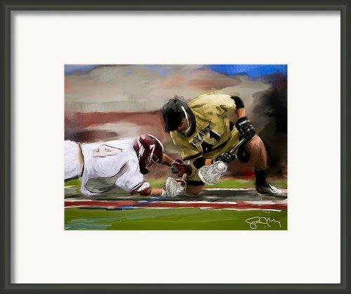 Bryant Faceoff Win Framed Print By Scott Melby