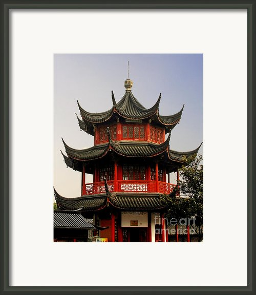 Buddhist Pagoda - Shanghai China Framed Print By Christine Till - Ct-graphics