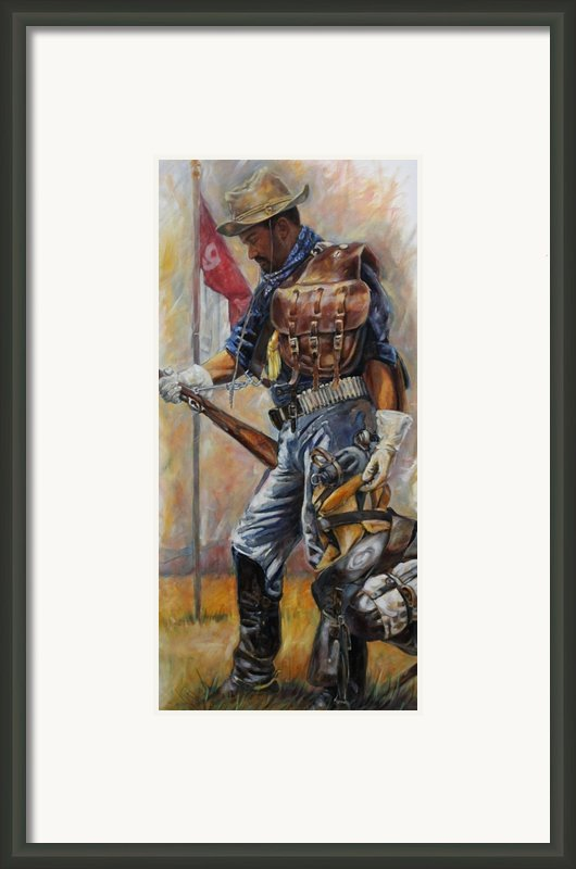 Buffalo Soldier Outfitted Framed Print By Harvie Brown
