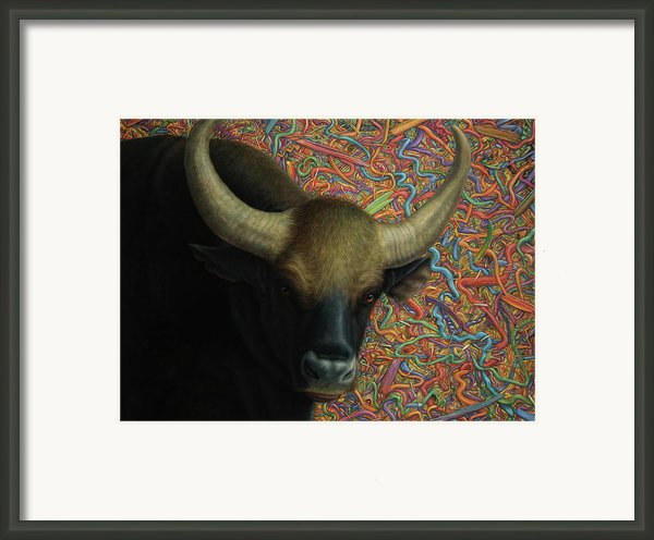 Bull In A Plastic Shop Framed Print By James W Johnson