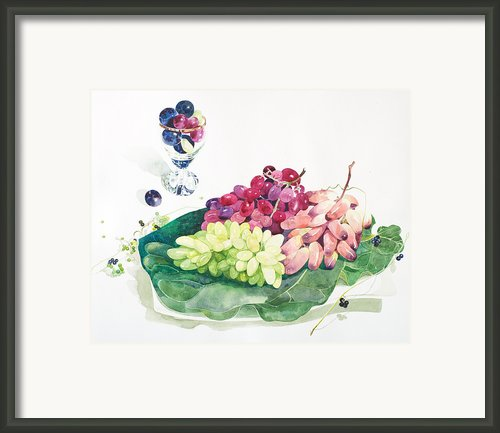 Bunches Of Grapes On A Platter Framed Print By Ayako Tsuge